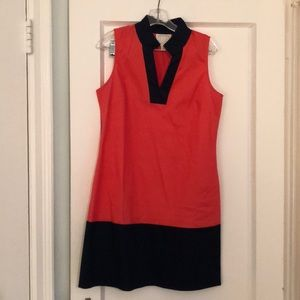 Sail to Sable tunic dress in coral and navy